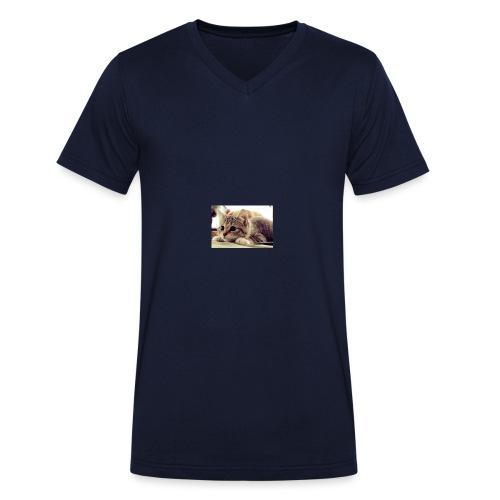 gato tierno - Camiseta ecológica hombre con cuello de pico de Stanley & Stella