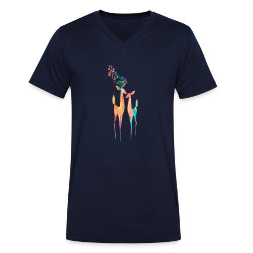 Hirsch Paar Prisma - Männer Bio-T-Shirt mit V-Ausschnitt von Stanley & Stella