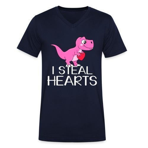 I steal hearts T-Rex - Männer Bio-T-Shirt mit V-Ausschnitt von Stanley & Stella
