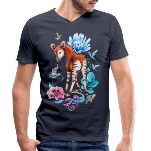 Okapi en olifant door Maria Tiqwah - Men's Organic V-Neck T-Shirt by Stanley & Stella