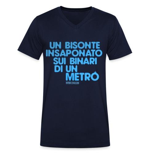 Un bisonte insaponato sui binari di un metrò. - T-shirt ecologica da uomo con scollo a V di Stanley & Stella