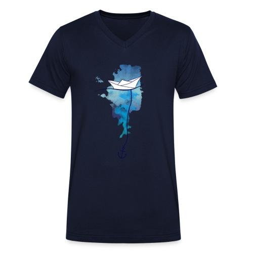Papierschiff - Männer Bio-T-Shirt mit V-Ausschnitt von Stanley & Stella