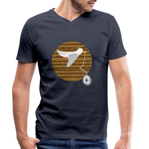 Freche Möwe stiehlt Kompass und fliegt davon - Männer Bio-T-Shirt mit V-Ausschnitt von Stanley & Stella