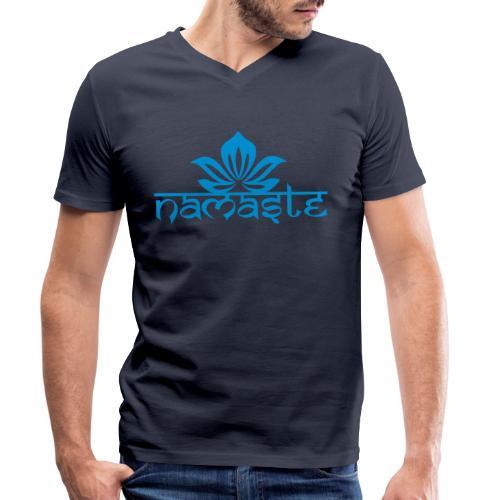 Namaste Lotus Yoga Motiv in Trendfarben MEGA - Männer Bio-T-Shirt mit V-Ausschnitt von Stanley & Stella