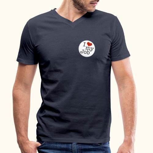 I ❤ my Job Button - Männer Bio-T-Shirt mit V-Ausschnitt von Stanley & Stella