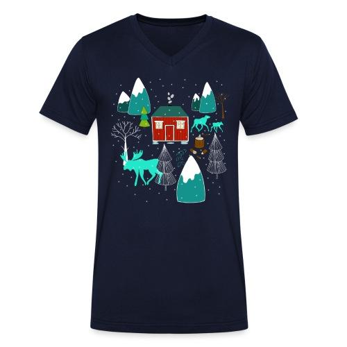 Weihnachten Elch I Geschenk Winterstimmung - Männer Bio-T-Shirt mit V-Ausschnitt von Stanley & Stella
