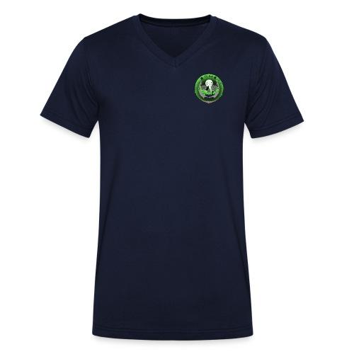 Rigormortiz Metallic Green Design - Men's Organic V-Neck T-Shirt by Stanley & Stella