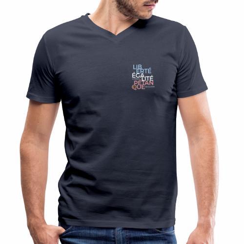 LIBERTE EGALITE PETANQUE - CLAIR - T-shirt bio col V Stanley & Stella Homme