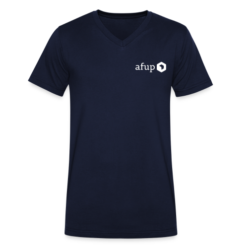 Le logo AFUP en blanc - T-shirt bio col V Stanley & Stella Homme