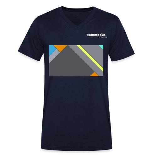 commodus Logo Print weiss2 png - Männer Bio-T-Shirt mit V-Ausschnitt von Stanley & Stella