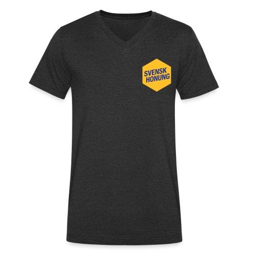 Svensk honung Hexagon Gul/Blå - Ekologisk T-shirt med V-ringning herr från Stanley & Stella
