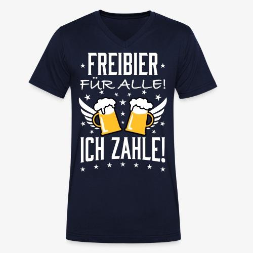 114 Freibier für alle ich zahle Bier Prost - Männer Bio-T-Shirt mit V-Ausschnitt von Stanley & Stella