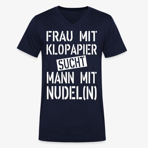 138 Frau mit Klopapier sucht Mann mit Nudeln - Männer Bio-T-Shirt mit V-Ausschnitt von Stanley & Stella