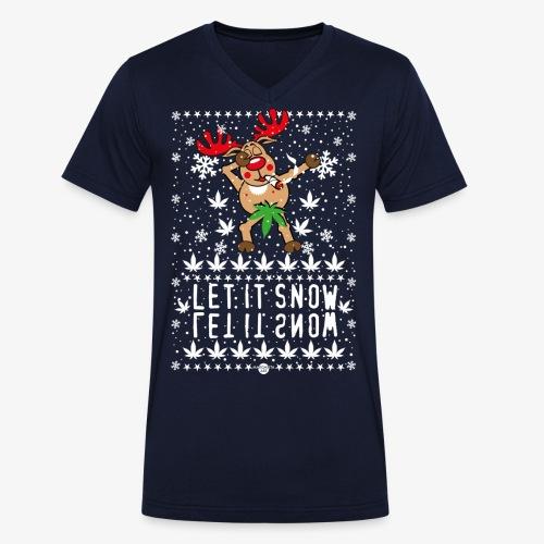 238 Hirsch Rudolph Dabbing Let it Snow Hanf - Männer Bio-T-Shirt mit V-Ausschnitt von Stanley & Stella