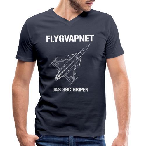 FLYGVAPNET - JAS 39C - Ekologisk T-shirt med V-ringning herr från Stanley & Stella