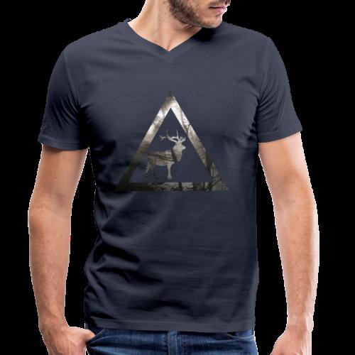 Mystical Forest Deer Triangle - Männer Bio-T-Shirt mit V-Ausschnitt von Stanley & Stella