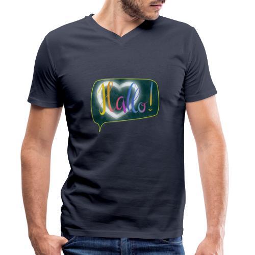 Hallo! Lettering mit Herz in Sprechblase - Männer Bio-T-Shirt mit V-Ausschnitt von Stanley & Stella