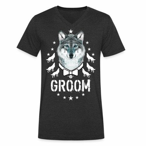 161 Wolf JGA GROOM Wolfpack Sterne - Männer Bio-T-Shirt mit V-Ausschnitt von Stanley & Stella