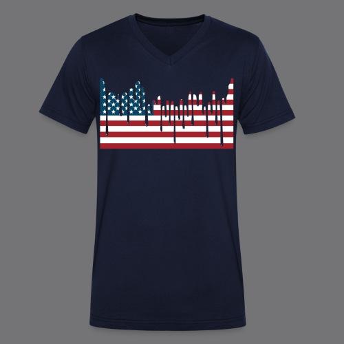 USA FLAG Tee Shirts - Men's Organic V-Neck T-Shirt by Stanley & Stella