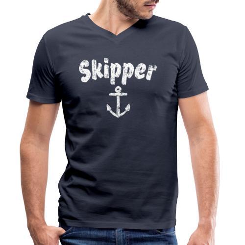 Skipper Anker (Vintage Weiß) Segler Boot & Segel - Männer Bio-T-Shirt mit V-Ausschnitt von Stanley & Stella