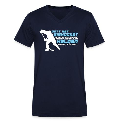 Gott hat Eishockey... - Männer Bio-T-Shirt mit V-Ausschnitt von Stanley & Stella
