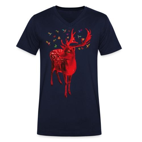 01 Schicker Hirsch rot Hirschgeweih - Männer Bio-T-Shirt mit V-Ausschnitt von Stanley & Stella