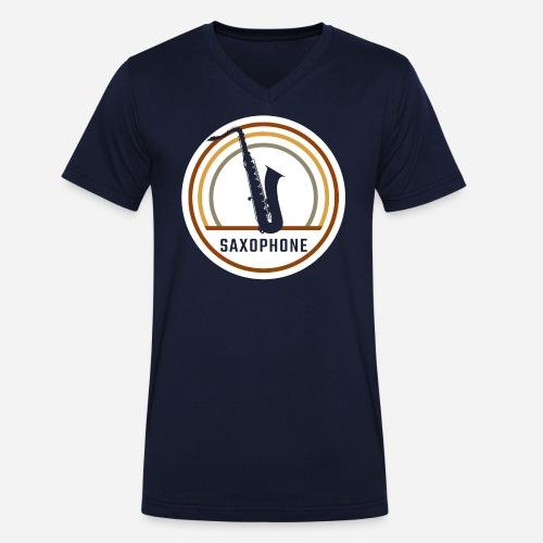 Saxophone Circle Retro - Männer Bio-T-Shirt mit V-Ausschnitt von Stanley & Stella