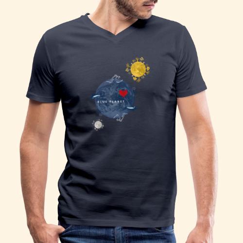 Blue Planet with Sun and Moon - Mannen bio T-shirt met V-hals van Stanley & Stella