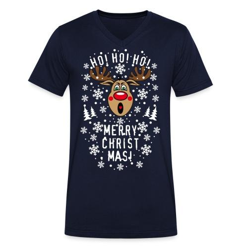 75 Hirsch Rudolph Ho Ho Ho Merry Christmas Schrei - Männer Bio-T-Shirt mit V-Ausschnitt von Stanley & Stella