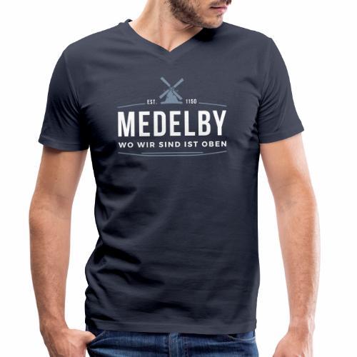 Medelby - Wo wir sind ist oben - Männer Bio-T-Shirt mit V-Ausschnitt von Stanley & Stella
