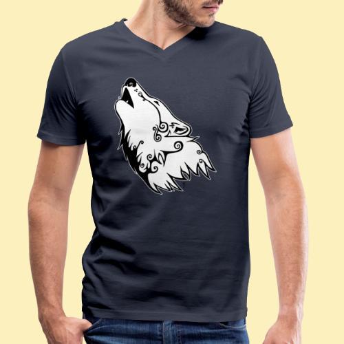 Le Loup de Neved (version contour blanc) - T-shirt bio col V Stanley & Stella Homme