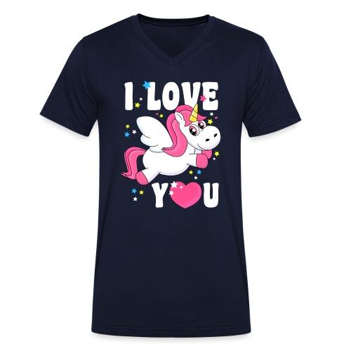 I love You Einhorn - Männer Bio-T-Shirt mit V-Ausschnitt von Stanley & Stella