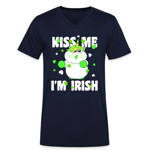 Kiss me I'm Irish Unicorn Einhorn - Männer Bio-T-Shirt mit V-Ausschnitt von Stanley & Stella