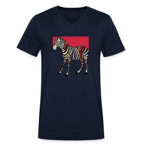 zebra tshirt design - Men's Organic V-Neck T-Shirt by Stanley & Stella