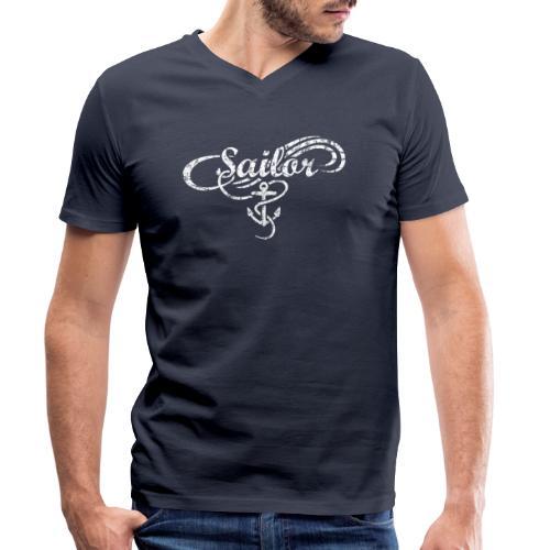 Sailor Anker Waves Segel Segler Segeln - Männer Bio-T-Shirt mit V-Ausschnitt von Stanley & Stella