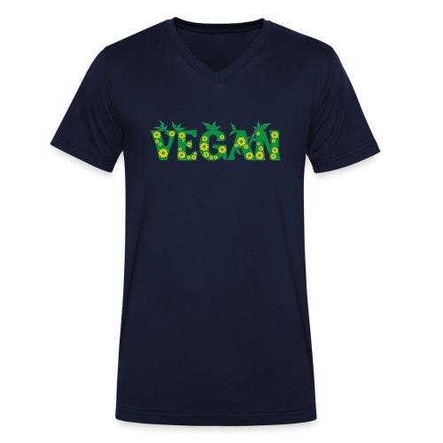 Vegan - Blumen - Männer Bio-T-Shirt mit V-Ausschnitt von Stanley & Stella