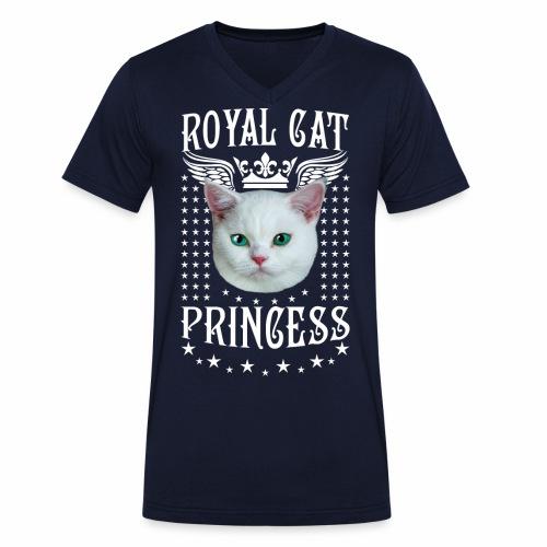26 Royal Cat Princess white feine weiße Katze - Männer Bio-T-Shirt mit V-Ausschnitt von Stanley & Stella