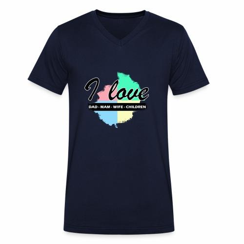 I love dad mom wife children - T-shirt bio col V Stanley & Stella Homme
