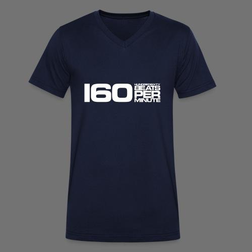 160 BPM (białe długie) - Ekologiczna koszulka męska z dekoltem w serek Stanley & Stella