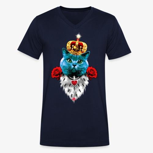 18 Blue Cat King Red Roses Blaue Katze König Rosen - Männer Bio-T-Shirt mit V-Ausschnitt von Stanley & Stella