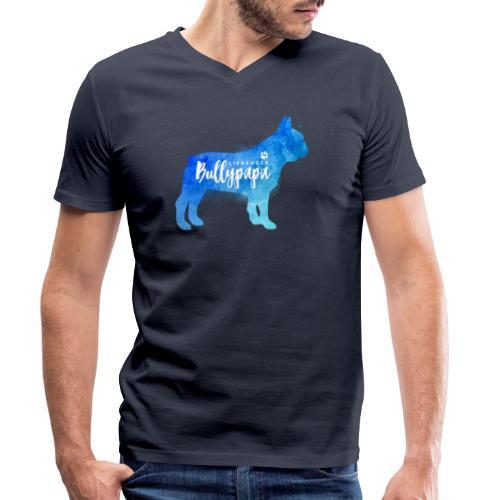 Liebender Bullypapa - Französische Bulldogge - Männer Bio-T-Shirt mit V-Ausschnitt von Stanley & Stella