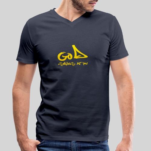 Gott lächelt Dich an - God smiles at you - Männer Bio-T-Shirt mit V-Ausschnitt von Stanley & Stella