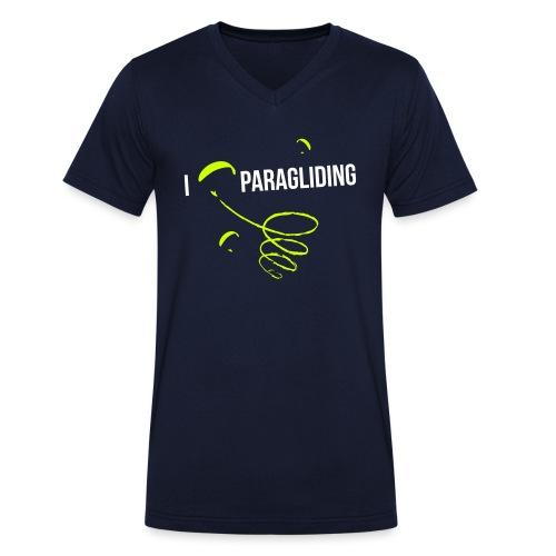 I LOVE PARAGLIDING GLEITSCHIRMFLIEGEN 2 - Männer Bio-T-Shirt mit V-Ausschnitt von Stanley & Stella