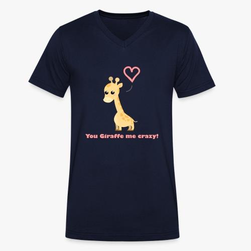 Giraffe Me Crazy - Økologisk Stanley & Stella T-shirt med V-udskæring til herrer