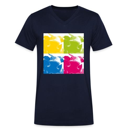 4 Kühe - Männer Bio-T-Shirt mit V-Ausschnitt von Stanley & Stella