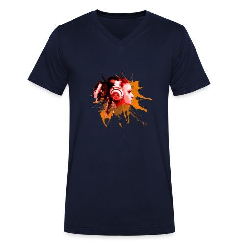GIRL MIT KOPFHÖRER - Männer Bio-T-Shirt mit V-Ausschnitt von Stanley & Stella