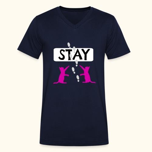 Cat Stay - Katze im Cartoon Stil III - Männer Bio-T-Shirt mit V-Ausschnitt von Stanley & Stella
