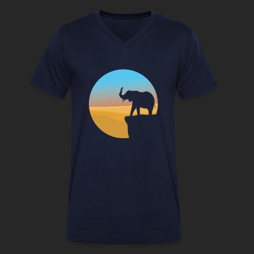 Sunset Elephant - Men's Organic V-Neck T-Shirt by Stanley & Stella