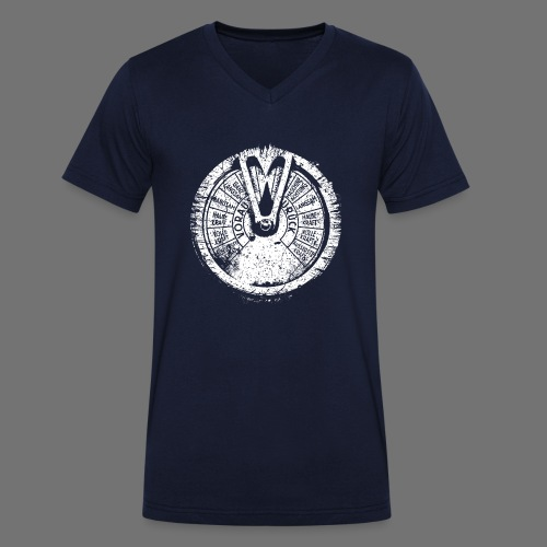 Maschinentelegraph (biały oldstyle) - Ekologiczna koszulka męska z dekoltem w serek Stanley & Stella