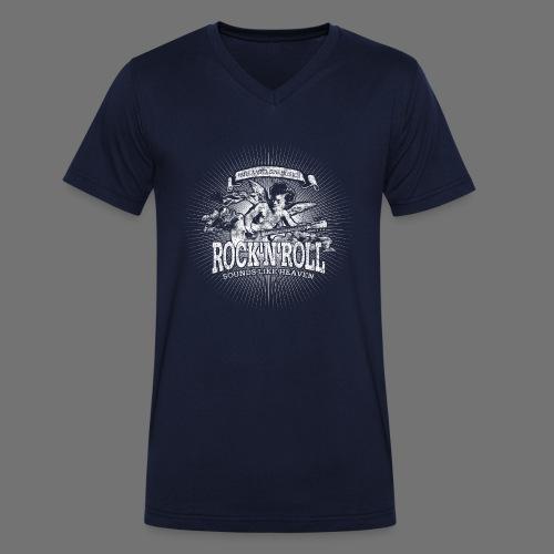 Rock 'n' Roll - Sounds Like Heaven (biały) - Ekologiczna koszulka męska z dekoltem w serek Stanley & Stella